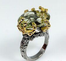 bague imposante en argent et or rodié améthyste verte griffé de 20 cts T55.1/2