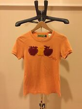 Authentic MISS SIXTY T Shirt Tee Orange Apple Patch So Cute Top Size Small