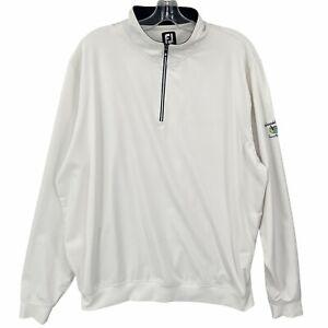 FJ FootJoy Mens Pullover Activewear 1/4 Zip White Black Long Sleeve Size 2XL