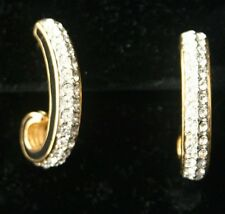SWAROVSKI Pave Rhinestone Black Enamel Hoop Earrings