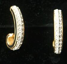 SWAROVSKI Pave Rhinestone Black Enamel Hoop Earrings