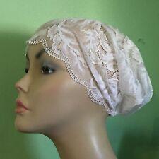 White LACE Underscarf snood Chemo cap Scrub cap 4 Hijab scarf Eid US SELLER