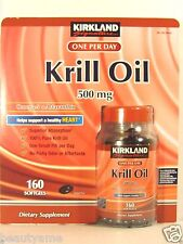 Kirkland Signature Krill Oil 500mg (Omega-3 & Astaxanthin), 160 Softgels