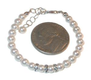 4mm WHITE Pearl Bracelet NEWBORN BABY Sterling Silver Swarovski Elements