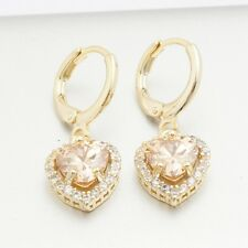 Gift Box Pack Yellow Gold Filled Zirconia 5 Colors Pretty Heart Drop Earrings