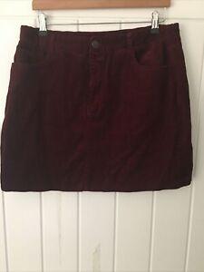 New Look Size 16 Dark Red/claret Cord Mini Skirt, W34 L17, Casual, Vgc