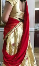 Choli Lehenga India silk Wedding Wear Party Pakistan Designer dress Sari red New