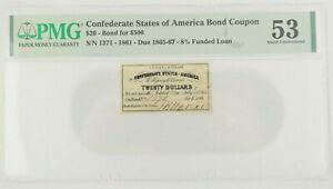 Confederate States of America Bond Coupon $20 Bond for $500 1861 PMG AU 53