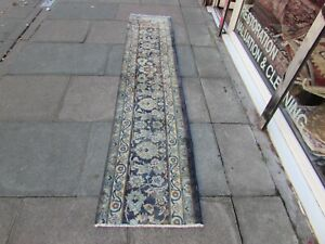 Vintage Fragment Traditional Hand Made Oriental Wool Blue Long Runner 271x56cm