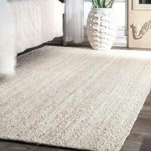 Rug 100% Natural Jute Braided style Handmade White Runner Rug Living Area Carpet