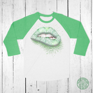 Celtic Lip Biting Glitter Effect Tri-Blend Raglan Baseball Top