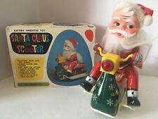 VINTAGE 1960S TRADE MARX CHRISTMAS SANTA MOTORCYCLE TIN TOY BATTERY WORKS JAPAN