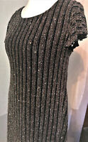 Ladies Striped Glitter Dress for Special Occasions & Party Black/Bronze NEW LOOK