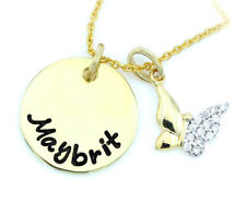 Schmetterling Zirkonia 333 Goldanhänger rund mit Gravur Goldkette Personaliert