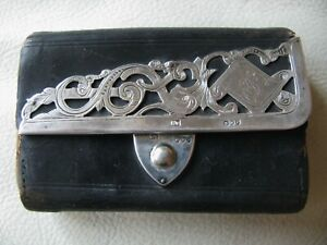 Antique Victorian LONDON ENGLAND STERLING SILVER Leather Coin Purse * 1890 * CM