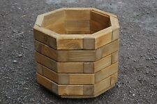 Wooden octagonal Pot 32 cm Long of Solid Wood Spruce in Light Brown Color