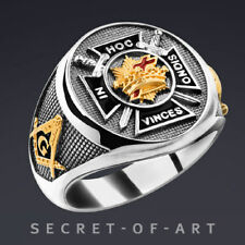 Knights Templar Masonic Ring Silver 925 In Hoc Signo with 24K-Gold-Plated Parts