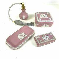 4 Piece Wedgwood Pink Jasperware Dresser Set Trinket Tray Box Perfume Atomizer