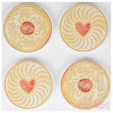 4 x Jam Biscuit Coasters Novelty Jammie Heart Tea Cup Holder Coffee Drinks Mat