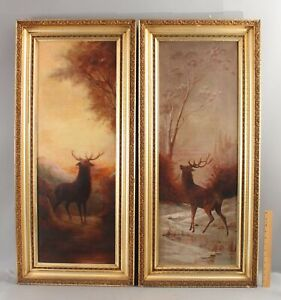 Pair Antique Signed American Western ELK Landscape Oil Paintings, Gilt Frame NR
