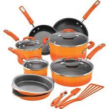 Rachael Ray 15-Piece Hard Enamel Nonstick Cookware Set Aluminum Orange