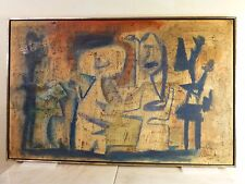 Vincent Cavallaro Vintage ABSTRACT OIL PAINTING Mid Century LISTED NY WPA 1959