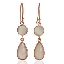 Moonstone, Chalcedony Gemstone Silver Bezel Set Dangle Earrings Jewelry