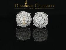 10k White Gold Finish Round Stud Silver Earring w/ Lab Created Diamond
