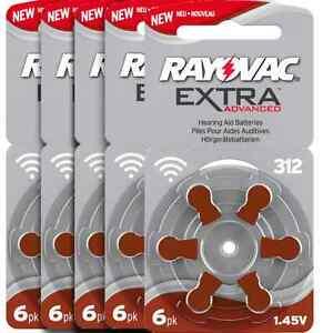 שישים סוללות למכשיר שמיעה גודל 312 חום RAYOVAC