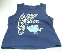 VEST T SHIRT JUNIOR SURF SCHOOL SHARK & SURF BOARD AGE 4-5 YEARS
