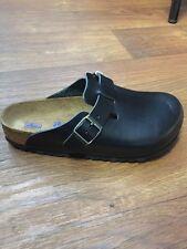 Birkenstock UniSex Boston Clog Black Leather Size 43 SoftFootbed