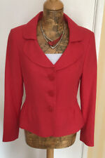 Chloe White Size 10 Red 55% Linen Single Breasted Lined Suit Jacket