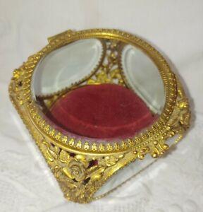 Matson Ormolu Gold Rose 5 Beveled Glass Pane Jewelry Box Casket