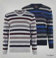 Mens Pierre Cardin Long Sleeve V Neck Mix Stripe Knit Jumper Sizes from S to XXL