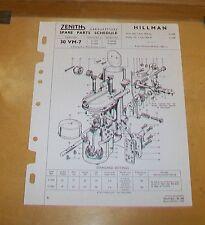 HILLMAN MINX Mks 7 & 8 HUSKY I ZENITH 30 VM-7 CARBURETTER SPARE PARTS SCHEDULE
