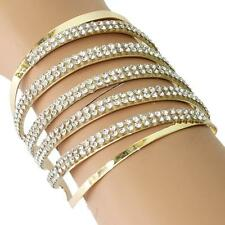 "2.50"" gold clear crystal swirl bracelet bangle cuff basketball wives"