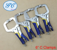 "4pc 6"" C-Clamp, Rubber Handle, Mig Welding Locking Plier Vice Grip,Quick Release"