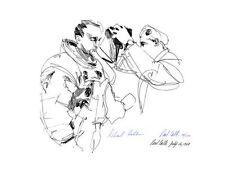 APOLLO 11 ASTRONAUT MICHAEL COLLINS SIGNED PRINT, NASA ARTIST PAUL CALLE