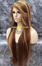 """36"""" Long Layered Strawberry Blonde Mix Full Lace Front Wig Heat Ok Hair Piece"""