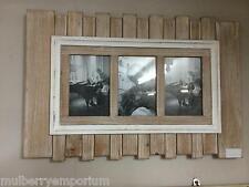 Wooden Planks Wall Hanging Nautical Triple Photo Frame Bathroom Frames