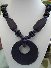 """A LARGE PURPLE CHUNKY WOODEN BEAD STRETCH NECKLACE. 20"""" + EARRINGS & BRACELET."""