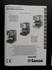 PHILIPS SAECO POEMIA Espresso Machine OPERATING INSTRUCTIONS USERS MANUAL HD8327