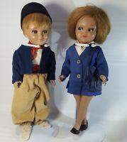 Vintage Doll Celluloid Hard Plastic Dutch Girl Boy Set Sleepy Eyes Jointed 12in