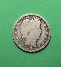 1892 United States Barber Silver Quarter