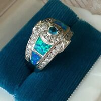 Antique Art Deco Vintage Sterling Silver Sapphire Opal Dress Ring size 9 or S