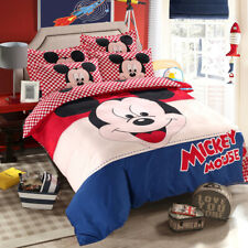 Cartoon Disney Mickey Mouse Lattice Comforter Cover Sheet Pillowcase Bedding Set