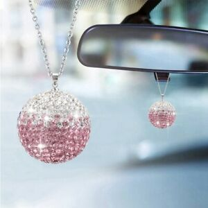 Bling Shiny Ball Crystal Car Rear View Mirror Pendant Suncatcher Hanging Decor