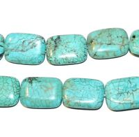 NG1426 Blue-Green Turquoise 30mm Rectangle Magnesite Gemstone Bead 16""
