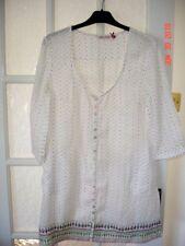 WHITE STUFF embroidered linen  kaftan dress/top size 10-12