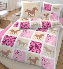 Bettwäsche 135x200 cm Pferd und Blümchen 47757 Baumwolle